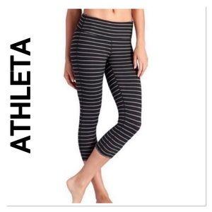 ATHLETA Black Gray Stripe Chaturanga Crop Leggings